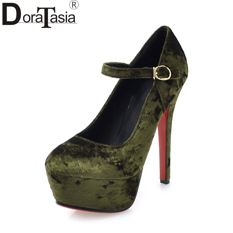 DoraTasia 2018 Velvet Big Size 32-43 Spring Platform Party Shoes Women Sexy Thin High Heels Wedding Pumps Shoes new sexy thin high heels shoes women pumps 2018 spring round toe platform single shoes women wedding party big size 34 45 27 5cm