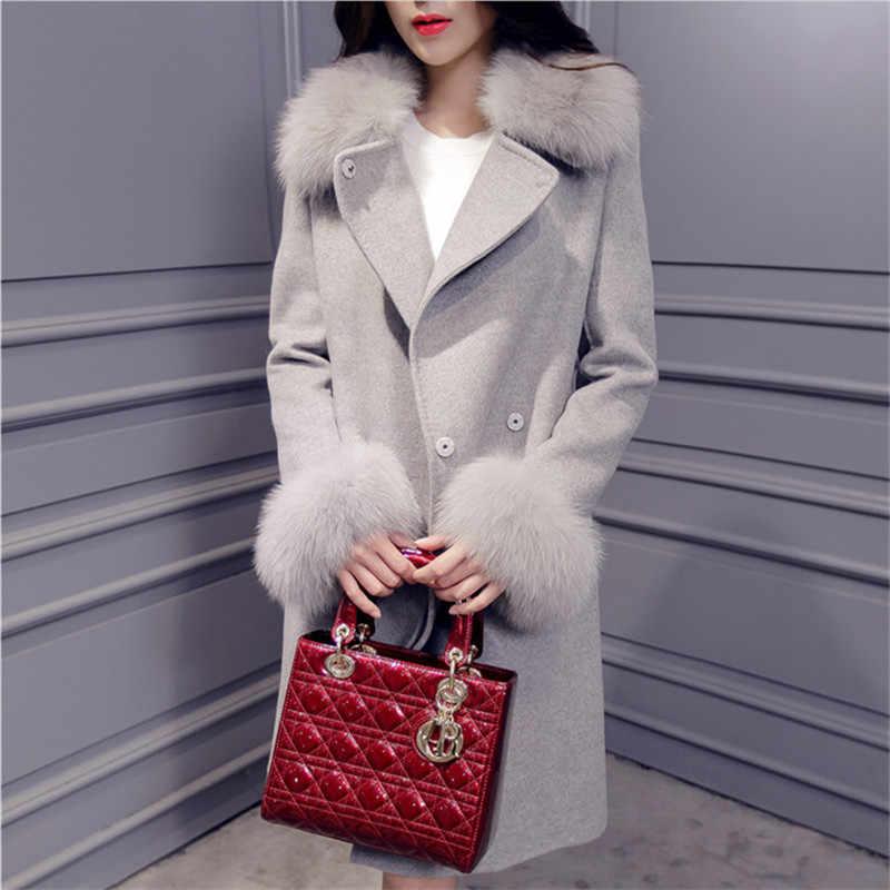 Plus Size 2018 Elegant Womens Coats Winter Korean Style Fashion Streetwear Long Slim Pockets Coat New Arrivals