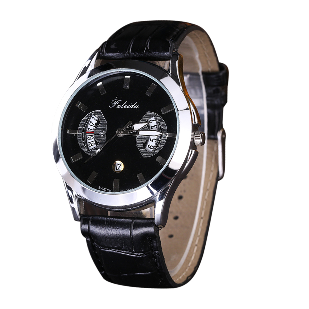 font b Men s b font Fashion Watches Sports PU Leather Band Date Automatic font