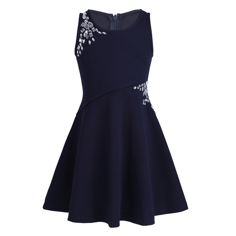 Kids Girls Sleeveless Dazzling Rhinestones Embellished Dress For Party Casual Autumn And Winter Dropshipping