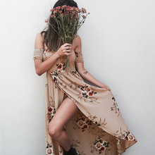 JRQIOT Floral Print Ruffles Chiffon Bohemian Dress Backless Summer Long Sexy Women Dress Maxi Beach Dresses Vestidos