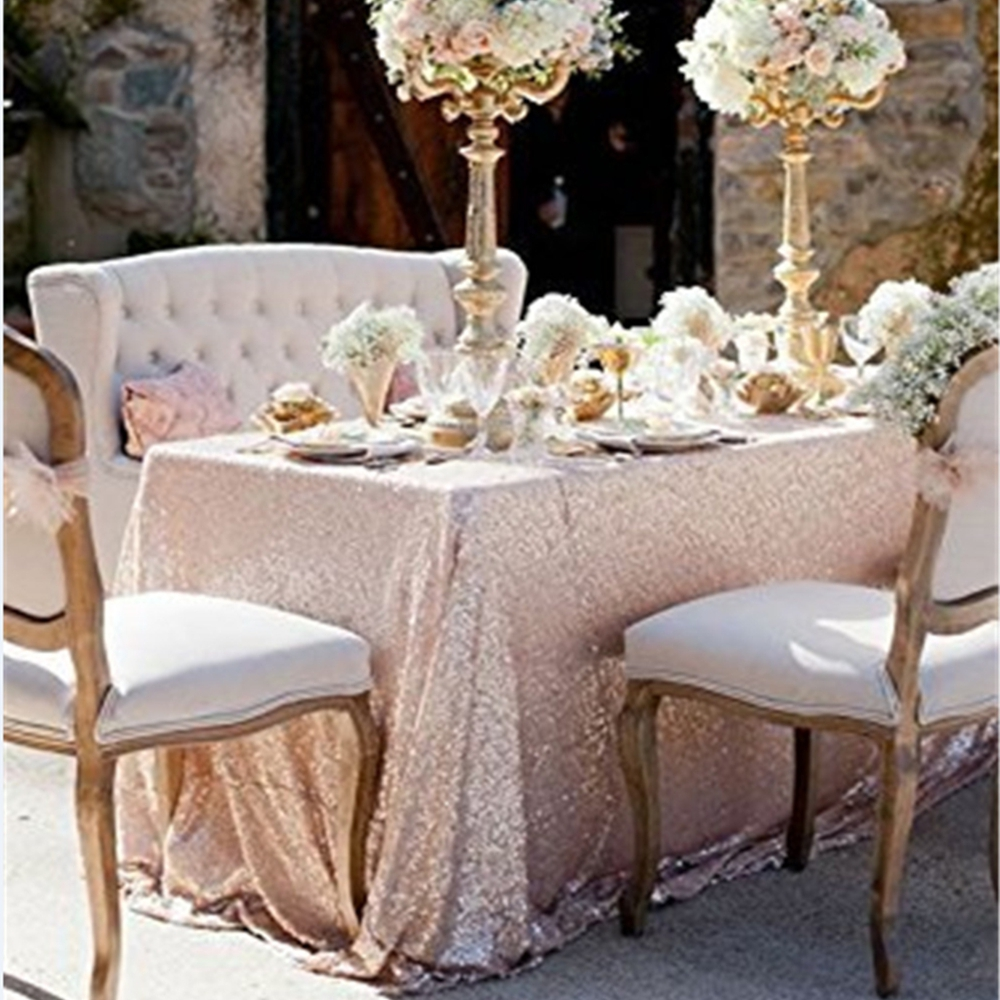 50x50 Inches Champagne Sequin Tablecloth Wedding Cake Rectangular Bling Table Cloth Overlay In Tablecloths From Home