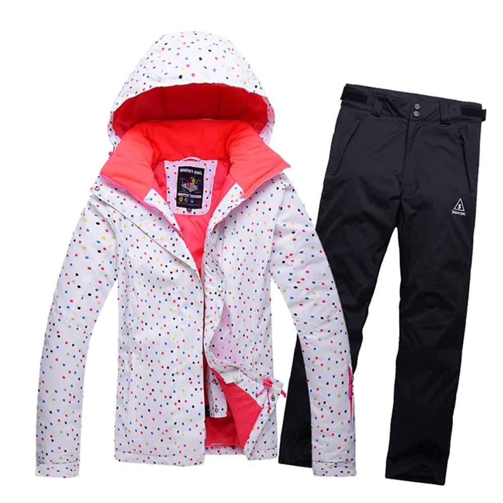 Prix pour Points imprimer 2016 hiver costume de ski des femmes étanche femelle neige vestes et pantalons ensembles épaissir respirant snowboard vêtements