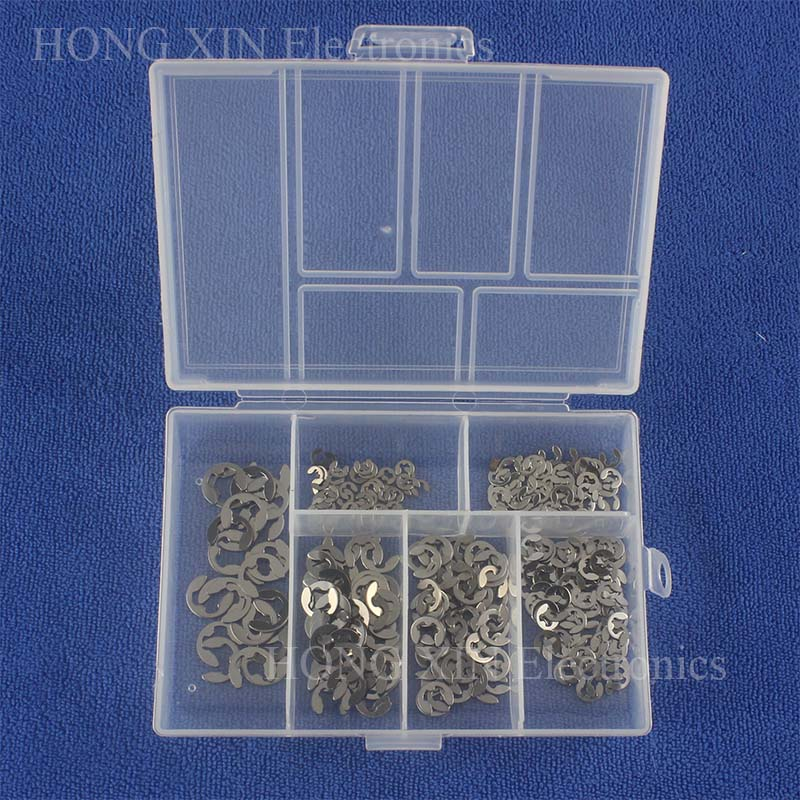 300Pcs set DIN6799 GB896 M2 M2 5 M3 M4 M5 M6 Stainless Steel Circlip Sack Retainer E E type Buckle shaped Split Washers in Washers from Home Improvement
