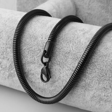 New 60cm Length Top Quality Real Black 316L Stainless Steel  Men Round Chain snake chain Lobster Clasps Simple Chains Necklace