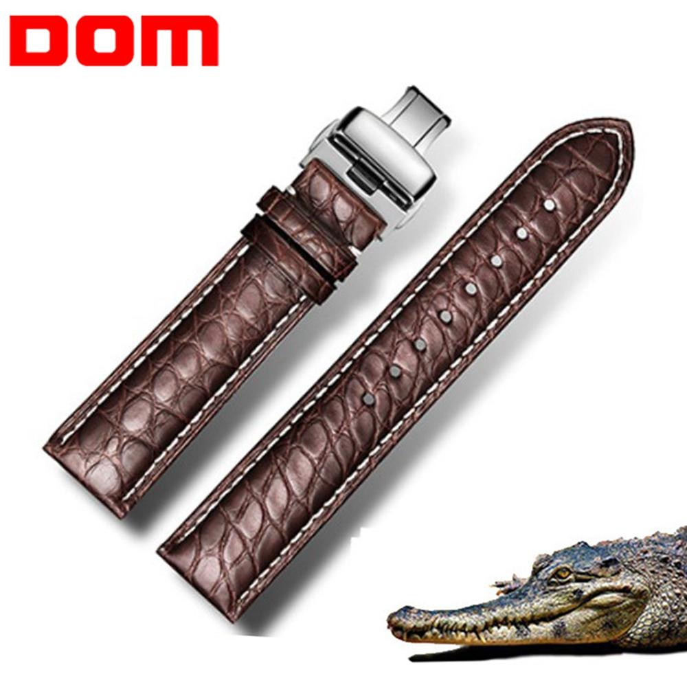 Bracelet de montre en Alligator véritable DOM bracelets de montre en cuir véritable pour hommes et femmes accessoires de montre 22mm 18mm 20mm24mm 16mm