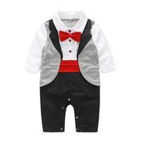 Baby   Gentleman Tuxedo   Rompers   Bebes Menino Infant Suit For Wedding Newborn Boys Jumpsuit Neck Tie   Baby   Party Suit Party Clothes