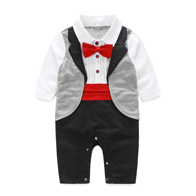 Baby Gentleman Tuxedo Rompers Bebes Menino Infant Suit For Wedding Newborn Boys Jumpsuit Neck Tie Baby Party Suit Party Clothes surplice neckline self tie cami jumpsuit