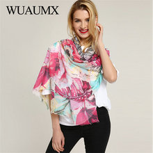 Wuaumx New 2018 Pashmina Ladies Scarves Wraps Scarf For Women Flower Pattern Multifunction Beach Shawl Hijab foulard femme