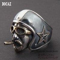 925 серебро винтажные ROUTE66 локомотив шлем тайский серебряное кольцо