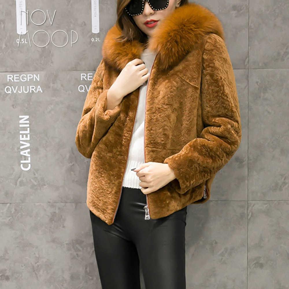 Camel negro cuero genuino natural oveja esquilar lana abrigo de piel de zorro real con capucha piel de cordero chaquetas de lana recortada LT1896