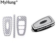 3 кнопки ключ крышка чехол Стикеры декоративные углеродного волокна оболочки для Ford Focus MK3 MK4 Kuga Escape 2012 2013 1 комплект