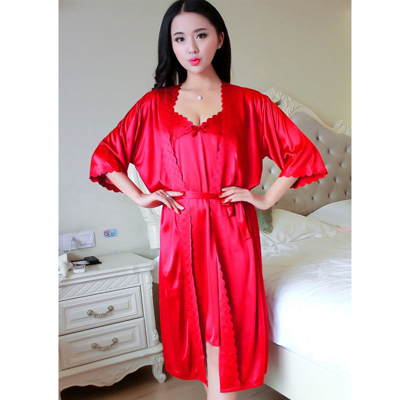 Womens Ladies Cotton Long Silk Kimono Dressing Gown Bath Robe ...