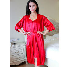 Womens Ladies Cotton Long Silk Kimono Dressing Gown MT