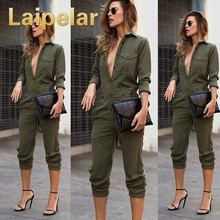 Sexy Women New Fashion Slim Bodycon Jumpsuit Long Sleeve Army Green Solid Casual Bodysuit Ladies Vintage Romper