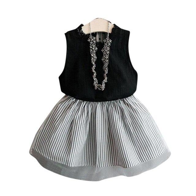00756bb39 Baby Kids Girl Clothing Black Sleeveless Lace Blouse T-shirt + Stripe Short  TuTu Skirt