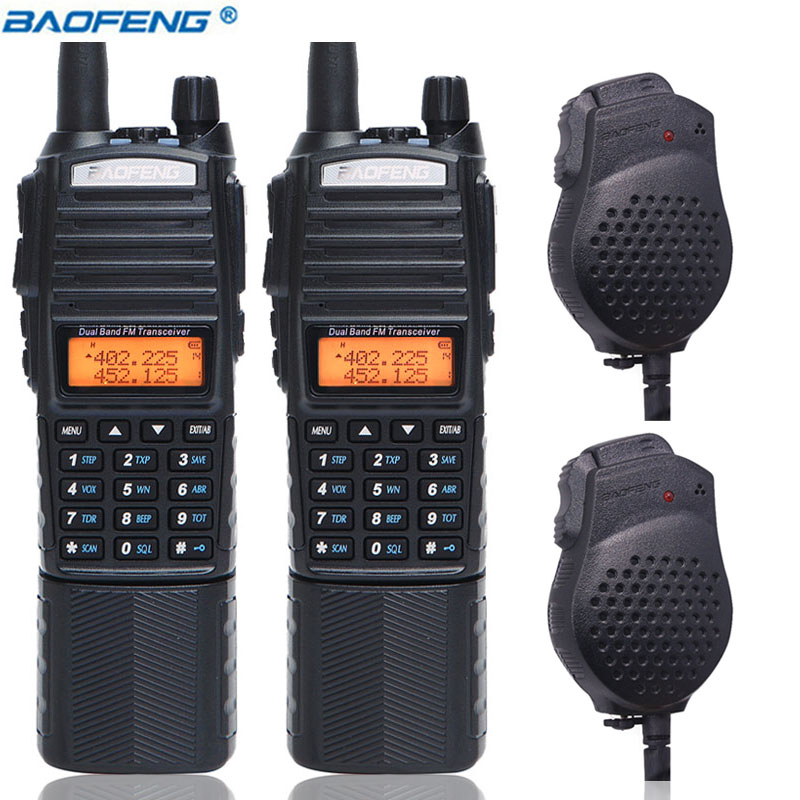 2Pcs Baofeng UV 82 Plus Portable Walkie Talkie 8W Powerful 3800mAh DC Connector Battery UV82 Dual
