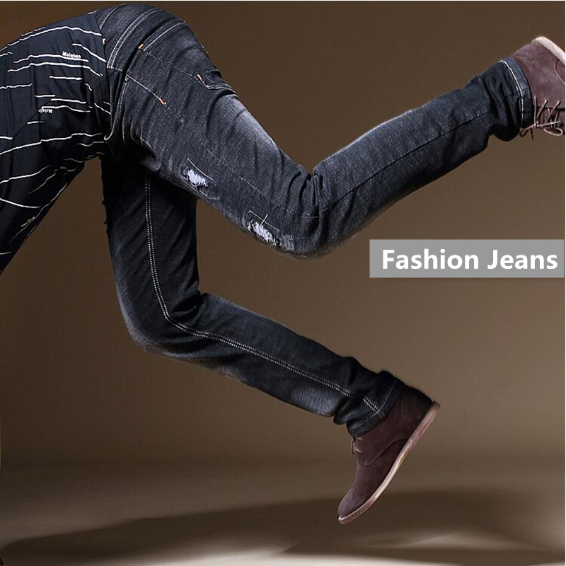 Mid Stripe Brand Elastic Pencil Pants Male Strech Ripped Jeans Men Autumn Vintage Distressed Mens Black Jeans Masculino X68-2 classic mid stripe men s buttons jeans ripped slim fit denim pants male high quality vintage brand clothing moto jeans men rl617