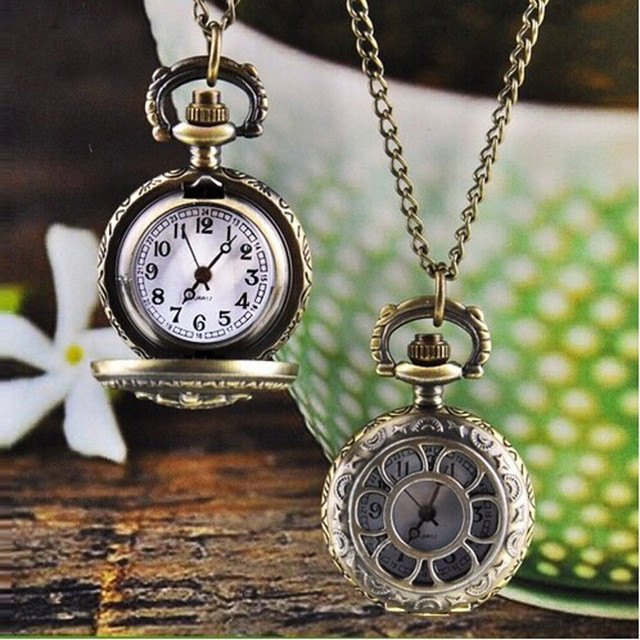 #2018Hot Fashion Vintage Retro Bronze Quartz Pocket Watch Pendant Chain Necklace