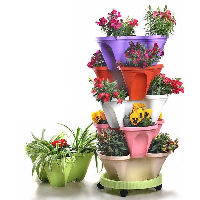 6 Tier Stackable Strawberry Herb Flower Vegetable Planter Balcony kitchen Succulent Pots Home Garden Decoration