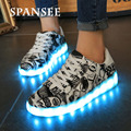 Spansee nova moda luminous glowing chinelos infantis meninos formadores tênis com sola de luz led usb shoes com light up shoes