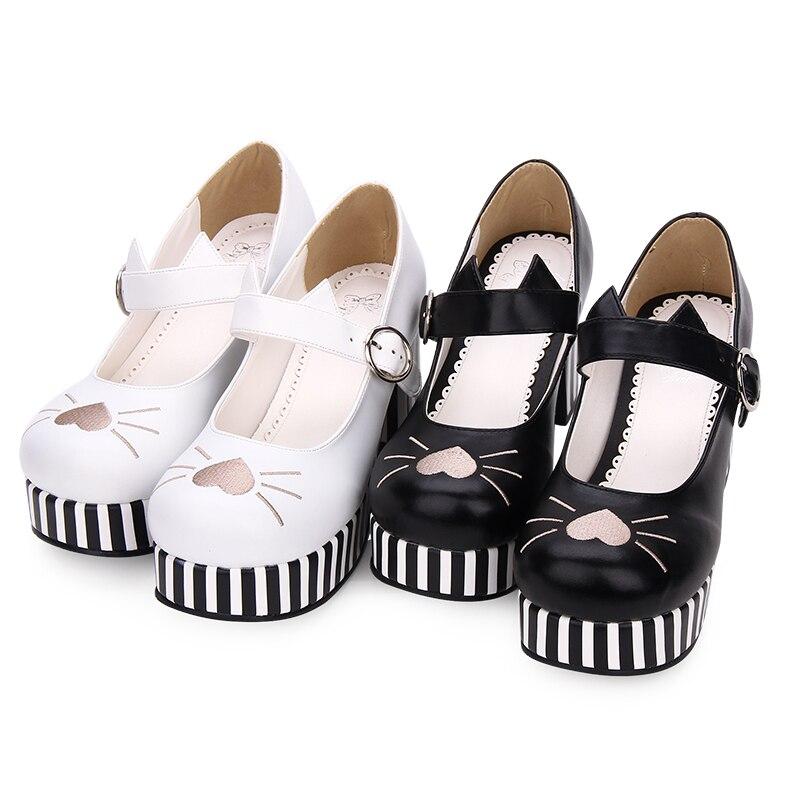 Et Chat Noir Talons Bruts Pu8967 De blanc Sœur Doux Chaussures Hauts Lolita En Brodé Forme À D'origine Douce Princesse Coeur Femmes aq0Hwgnv