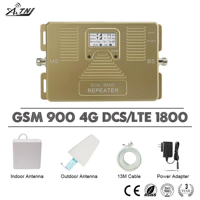 ATNJ répéteur GSM 900 LTE 1800 amplificateur Mobile LCD affichage double bande Signal Booster 900 1800 4G LTE bande de téléphone portable 3 70dB Gain
