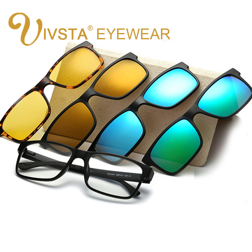 Prescription Eyeglass Frames With Magnetic Clip On Sunglasses : IVSTA Include Frame Polarized Clip On Sunglasses Men TR90 ...