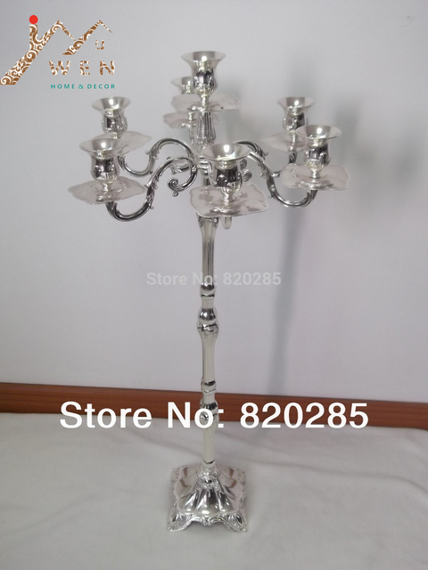 Unique Fashion Candelabra 83cm Height 7 Lights Silver Finish Candle Holder Party
