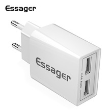 Essager Dual USB Charger 2.4A Fast Charging Travel Wall Charger For iPhone Samsung S10 Xiaomi 9 EU Adapter Mobile Phone Charger