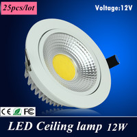 25X Dhl High Power Led Downlight Square Cob Ceiling 12V 12W Ceiling Recessed Lights Warm Cool