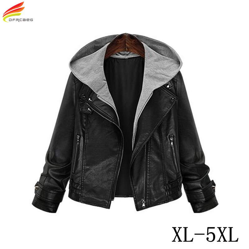leather jacket 2017 woman winter warm coat hooded. Black Bedroom Furniture Sets. Home Design Ideas