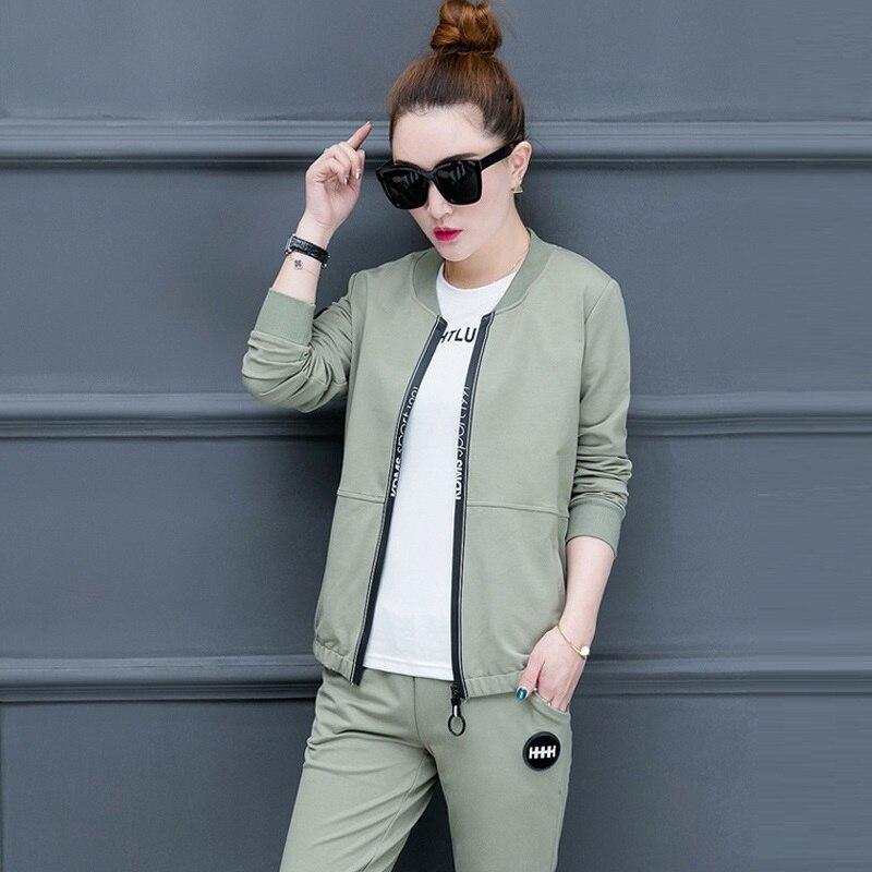 3 Piece Set Women White T-shirt + Zipper Jacket + Slim Pants Suits 2018 New Spring Autumn Fashion Elegant Tracksuit Casual Pants