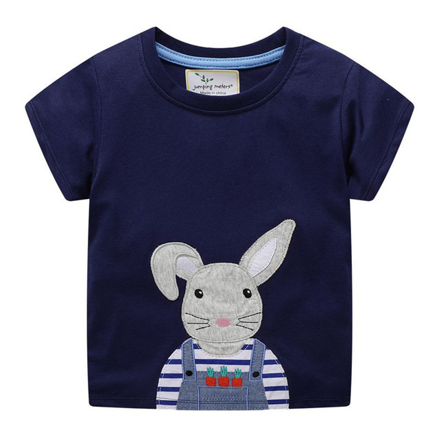 0287ca85b3 US $6.05 40% OFF|jumping meters Applique Girls T shirts Bunny Baby Tees Top  Summer 2019 Fashion design kids clothing t shirts cotton animal Tees-in ...
