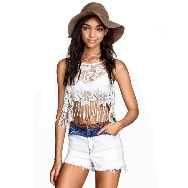 be424fbaf15d7e Fashion Women Tassel Crop Top Sexy Lace Tank Top White Bohemian Tops For  Women Tops Crops