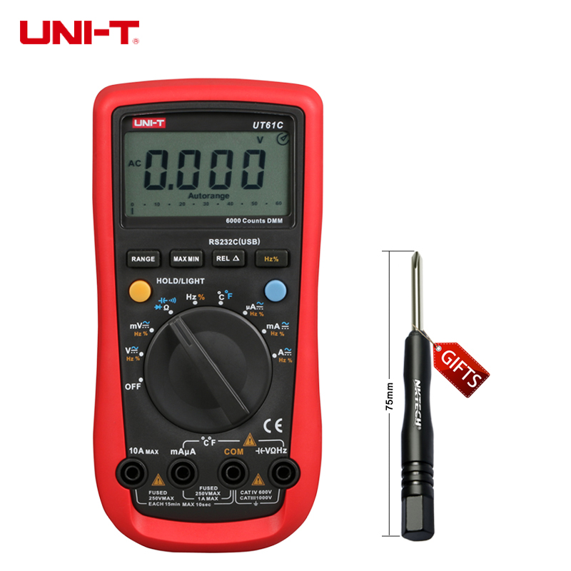 UNI-T UT61C Modern Digital Multimeters Auto Range with Frequency/Hz Tester C/F thermometer AC/DC Voltage Current Meter uni t ut61b modern digital multimeters 3999 count auto power off temperature tester lcd backlight