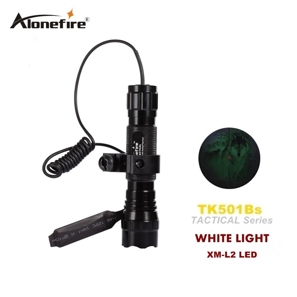Alonefire 501B CREE XM-L2 LED 2200Lm  Tactical Flashlight Torch Pressure Switch Mount Light Gun shotguns for 18650 battery