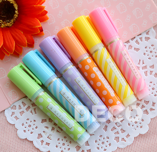 6pcs/lot Cute Mini Highlighter Pens 6colors/pack Kawaii Pen Office Supply & Stationery (ss-896-2)