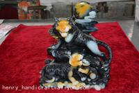 Rare Chinese 100% Natural ShouShan Stone Hand Carved Decoration ,Tiger Family,Emerald,Free shipping