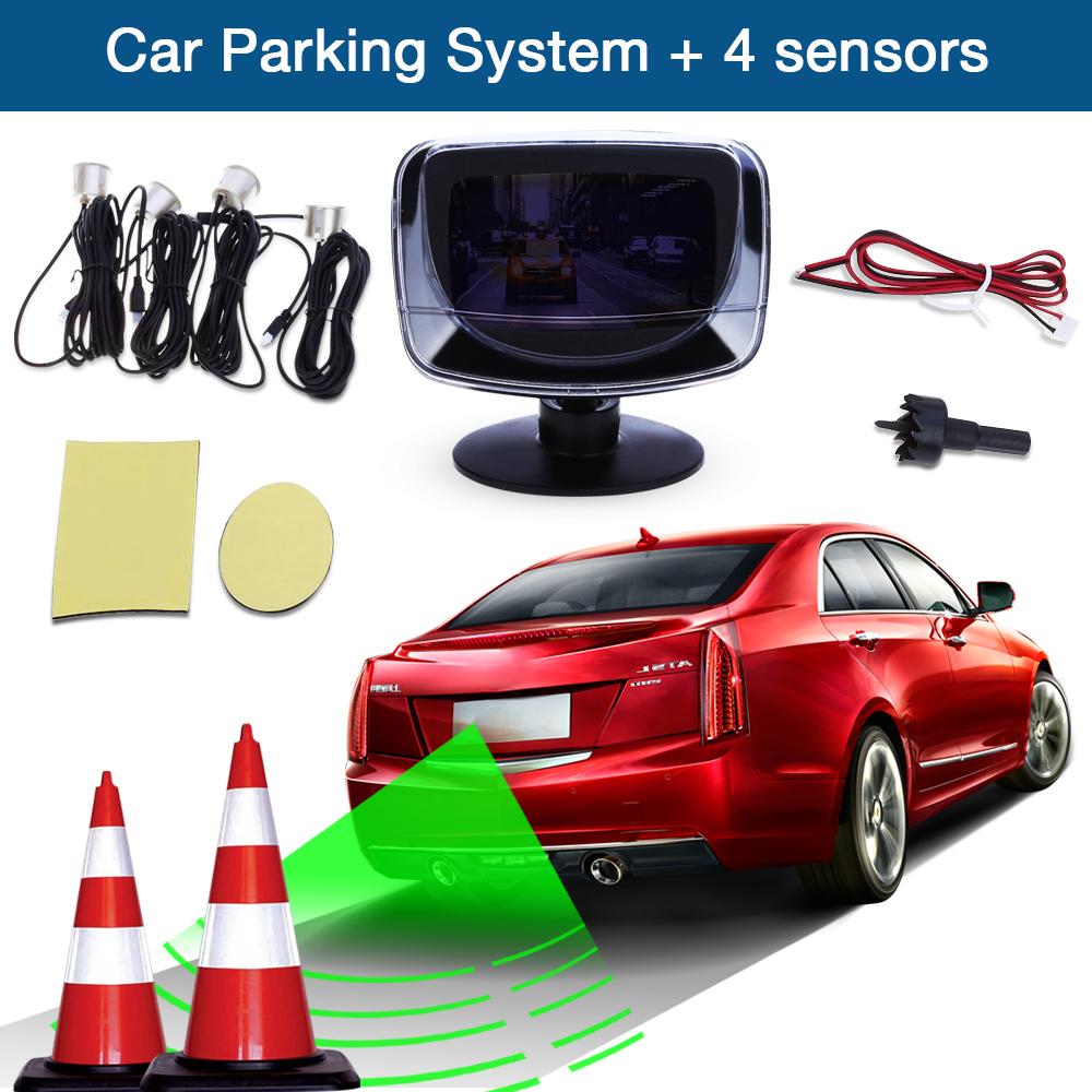 Prix pour Chaude Voiture Parking Capteur D'alarme Détecteur De Radar LED Affichage Écran 4 Capteurs Moniteur Auto Reverse Sauvegarde Système Kit D'alarme Alerte