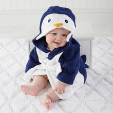 Купить с кэшбэком Children's Bathrobes Lovely Penguin Bathrobe Kids Baby Boy&girl Bath Robes Cotton Warm Pajamas Animal Kids Bath Robes