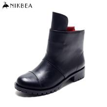 Nikbea 2016ฤดูใบไม้ร่วงฤดูหนาวแฟชั่นรองเท้ามาร์ตินมีขนาดใหญ่ก้อนส้นต่ำพังก์คาวบอยตะวันตกขี่ข้อเท้าBotines Mujer