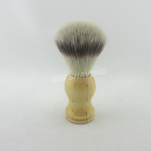 Pur Tech Synthetic Hair  wood handle faux silvertip Shaving Brush