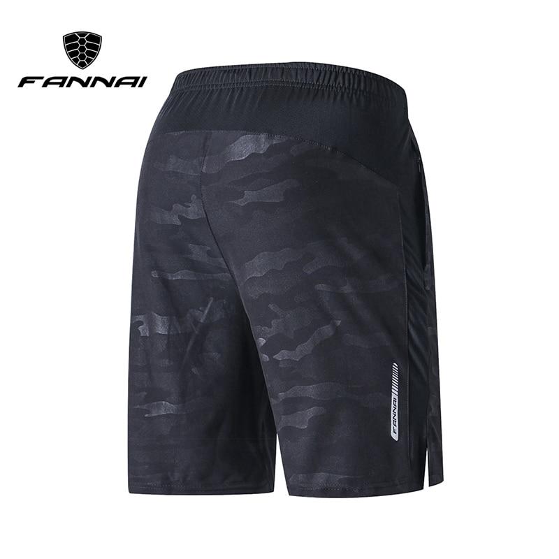 FANNAI Running Shorts Men Training Marathon Quick Dry Fitness Gym Printing Sport Shorts With Pocket Plus Running Shorts Jogger men pocket decoration shorts