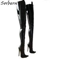 Sorbern 80 см промежность бедра высокие женские сапоги на высоком каблуке Женская обувь на заказ широкие сапоги до середины икры см 18 см стилет с