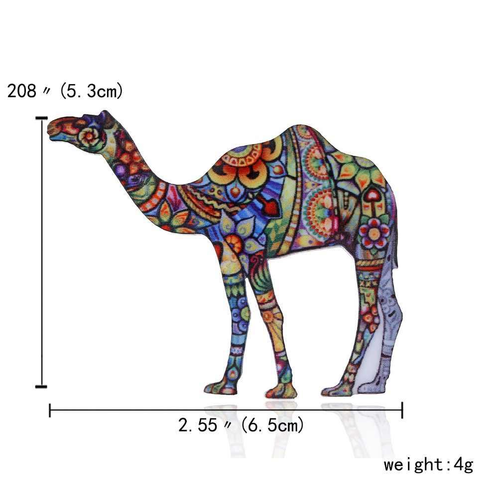 Broches de bufanda de Metal acrílico antiguo broche del animal esmaltado broche del pez Camel caballo de jirafa clásico