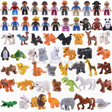 Legoing Duplo Building Blocks Cartoon Animal Jurassic Dinosaur & Big Size Family Series Toys Compatible Legoings Duploe Figures(China)