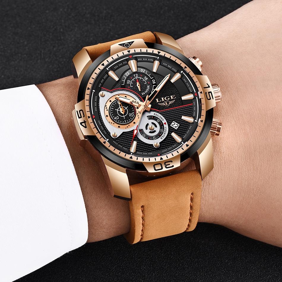 HTB1S8hrXIvrK1Rjy0Feq6ATmVXaD LIGE Mens Watches Top Brand Luxury Casual Leather Quartz Clock Male Sport Waterproof Watch Gold Watch Men Relogio Masculino