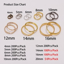 200pcs/lot 6 8 10 12 14 16 20mm Gold Silver Open Jump Rings Double Loops Split Rings Connectors For DIY Jewelry Making Supplies цена в Москве и Питере
