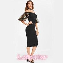 Laipelar Bardot Summer Party Dress 2017 Black Off the Shoulder Women Elegant Midi Dress Floral Embroidery Mesh Puff Sleeve Dress floral flounce bardot dress
